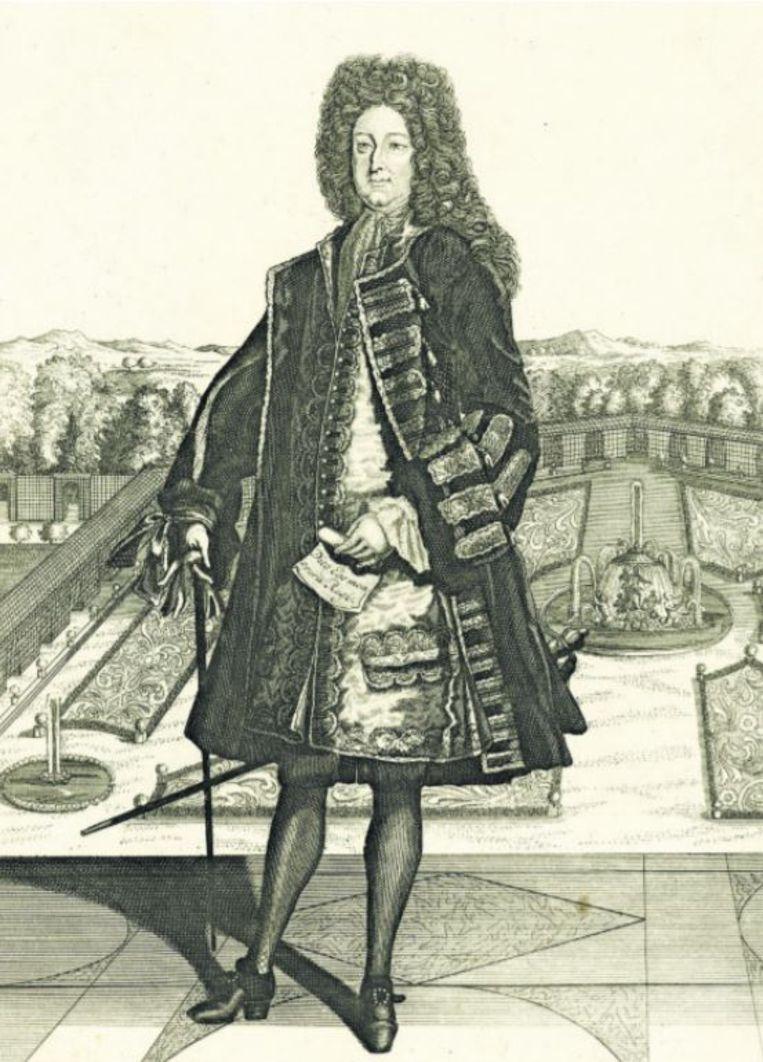 Law spottend afgebeeld als Zonnekoning Beeld