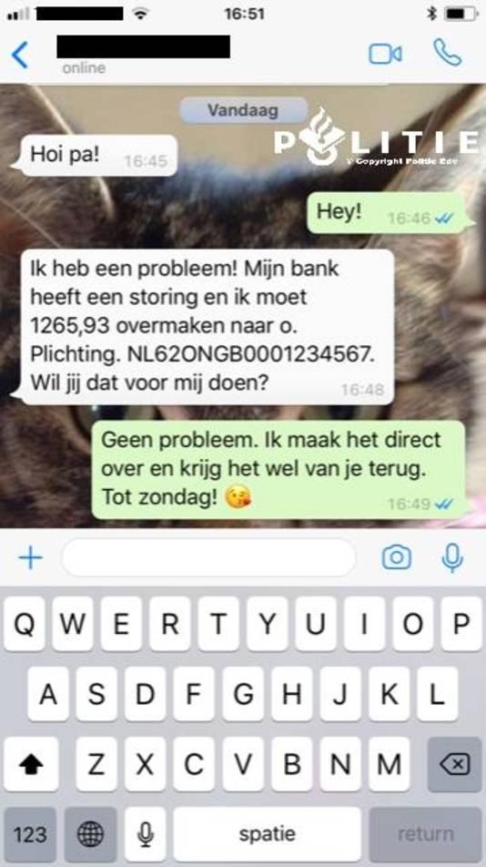 Opgelicht via WhatsApp