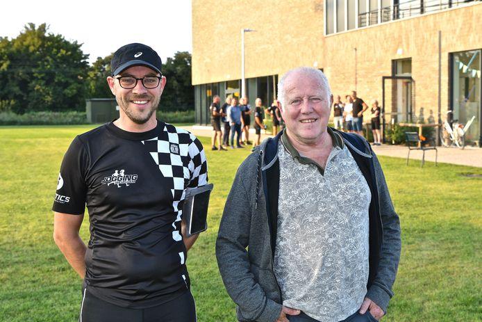 De nieuwe voorzitter Tom Verleyen en de vroegere voorzitter Patrick Doornaert van Jogging Wevelgem.