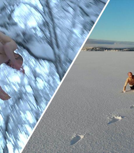 Video van de Dag   Brrr! Deze bijna naakte man springt bij -20 in de sneeuw (en dat doet pijn)