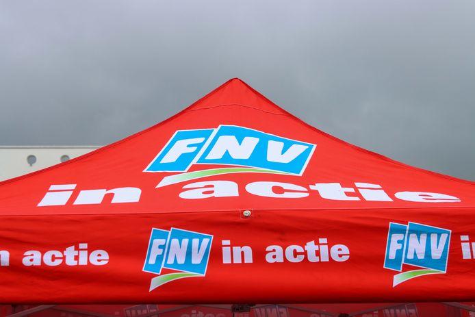 Een FNV-tent bij een eerdere actie in Leeuwarden. Foto ter illustratie.