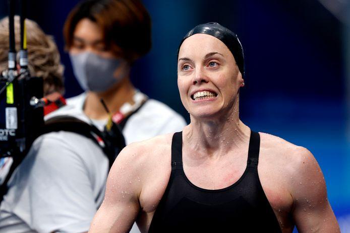 Femke Heemskerk na haar halve finale op de 100 meter vrije slag.