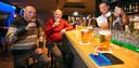 Als je 18 jaar of ouder bent krijg je bij RKDVC een blauw stempeltje en mag je een biertje drinken, vlnr.Peter Kuijsten, Hans Brokx en Mark van Heeswijk.
