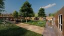 Het nieuw te bouwen hofje aan Meester Slootsweg in Waalre wordt omring door bomen en moet veel groen gaan bevatten.