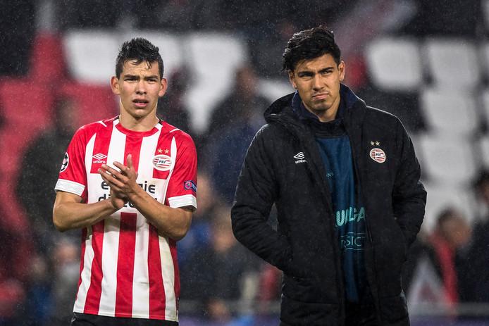 Hirving Lozano en Érick Gutiérrez.