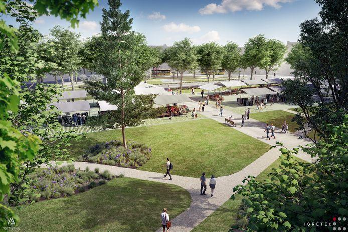 La nouvelle place Albert 1er à Montignies-sur-Sambre (Charleroi) telle qu'elle devrait être