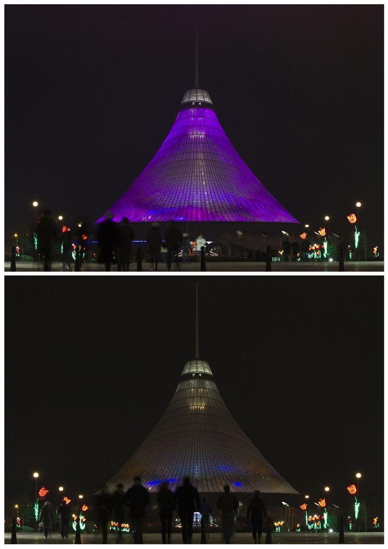 De Khan Shatyr, een groot transparant tentvormig bouwwerk in Astana, de hoofdstad van Kazachstan. Beeld reuters