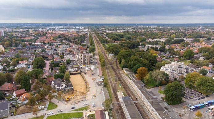 De entree van de Parkweg in Ede is sinds vorige week afgesloten vanwege bouwwerkzaamheden.