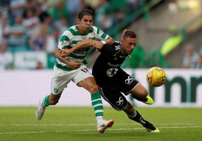 Alex Gersbach (in het zwart) namens Rosenborg in actie in de voorronde van de Champions League tegen Celtic.