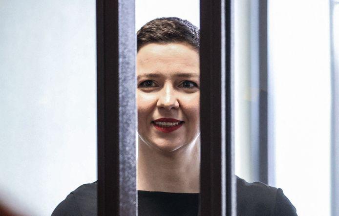 De Wit-Russische oppositieleidster Maria Kolesnikova tijdens haar proces.