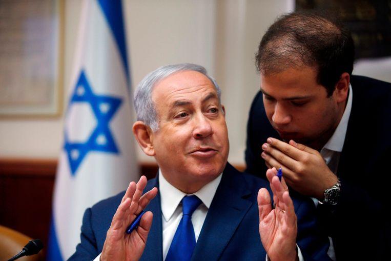 Israelisch premier Benjamin Netanyahu tijdens zijn wekelijkse kabinetsvergadering in Jeruzalem. Beeld AFP