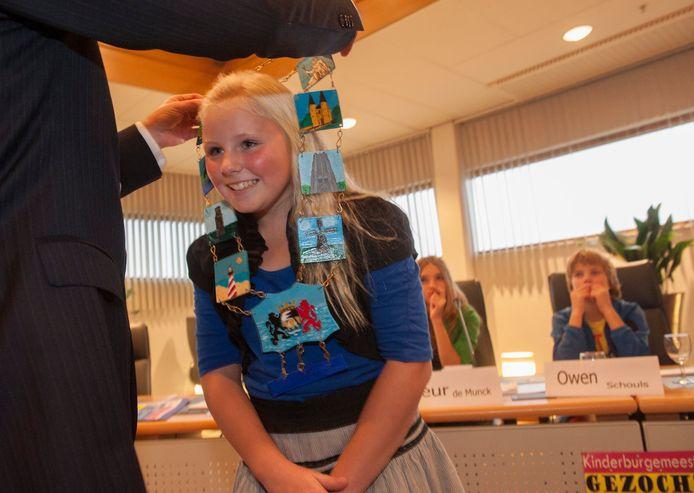 De installatie van kinderburgemeester Annah Kooman van Schouwen-Duiveland, in 2012.