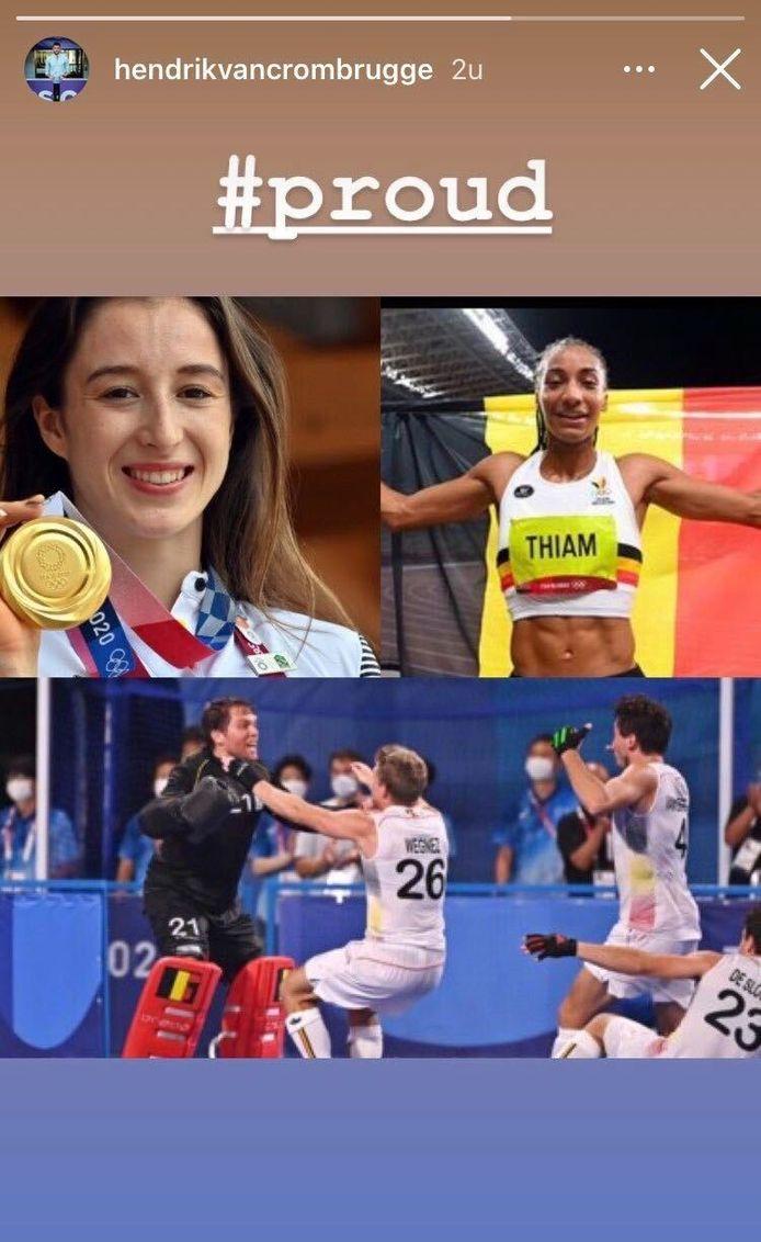 Van Crombrugge feliciteert gouden atleten.