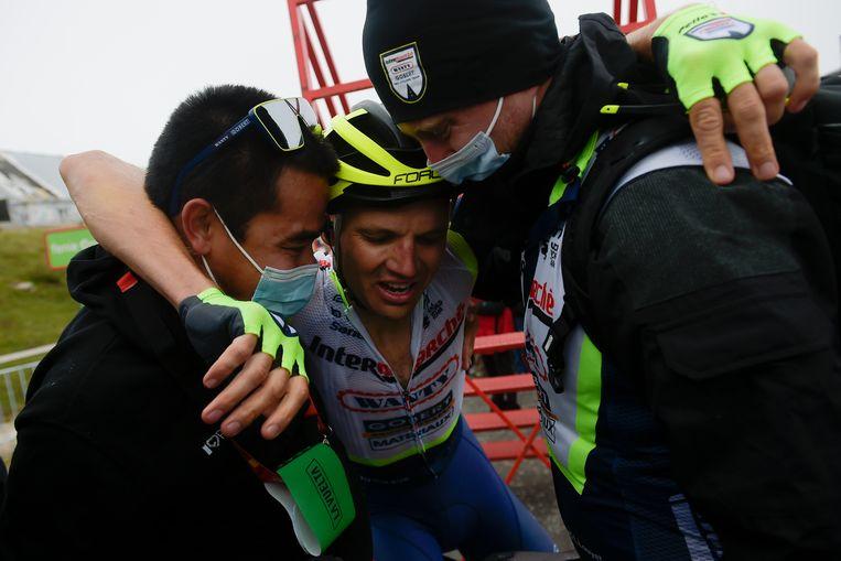 Rein Taaramae na zijn ritzege in de Vuelta. Beeld AP