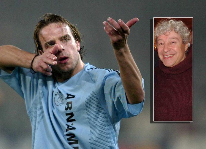 Andy van der Meyde maakt zijn beroemde schietgebaar na zijn treffer in Rome in 2003. Inzet: David Endt.