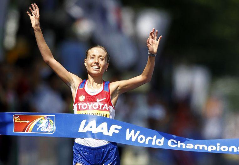 Olga Kaninska, winnares van het WK snelwandelen in 2011, moet levenslang geschorst worden. Beeld ap