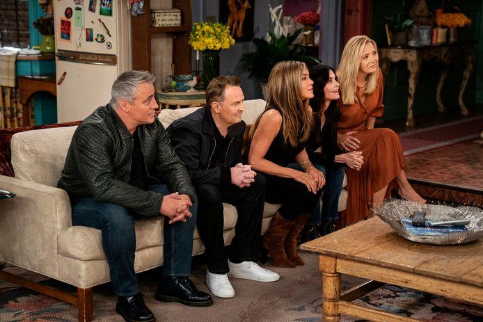 Matt LeBlanc, Matthew Perry,  Jennifer Aniston, Courteney Cox et Lisa Kudrow lors de l'émission spéciale de Friends.