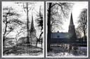 Een schets van Vincent van Gogh van de hervormde kerk in Helvoirt waar zijn vader predikant was (links) en een foto die Karin Traa van werkgroep Van Gogh Helvoirt afgelopen winter maakte van diezelfde kerk.