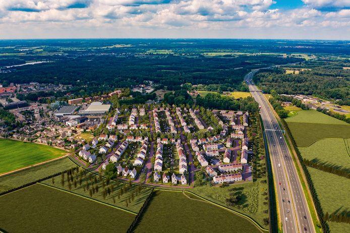 Een artist impression van de nieuwe woonwijk Heem van Selis, waar de 'Laan van Selis' komt.