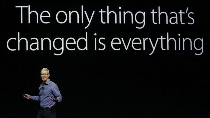 Tim Cook, CEO van Apple, tijdens presentatie nieuwste iPhone