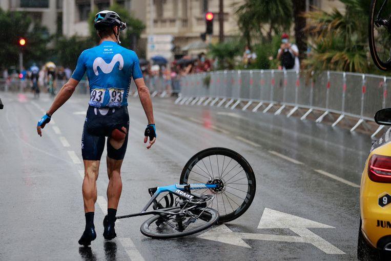 De Spanjaard Imanol Erviti was een van de velen die viel tijdens de eerste etappe van deze Tour de France. Beeld BELGA