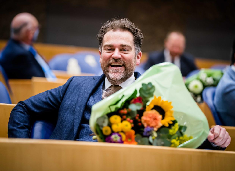 Klaas Dijkhoff (VVD) tijdens het afscheid van de oude kamerleden.