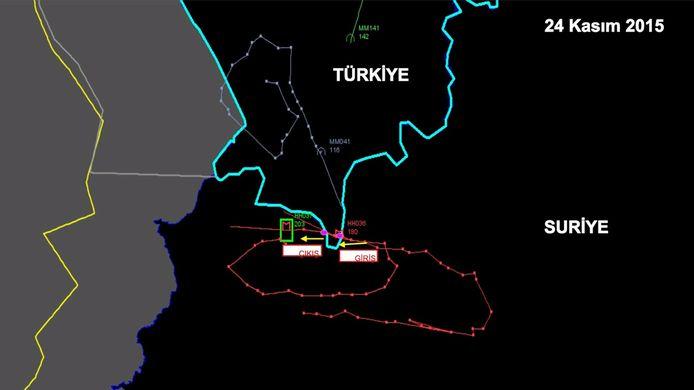 Een radarbeeld van de vliegbewegingen van de Russische jet boven de Turks-Syrische grens, vrijgegeven door Turkije.