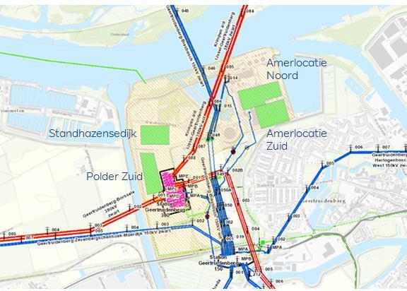 De vier locaties (groen) die door Tennet en het ministerie zijn aangedragen: 2 in polder de Peuzelaer (links) en 2 bij de Amercentrale (rechts).