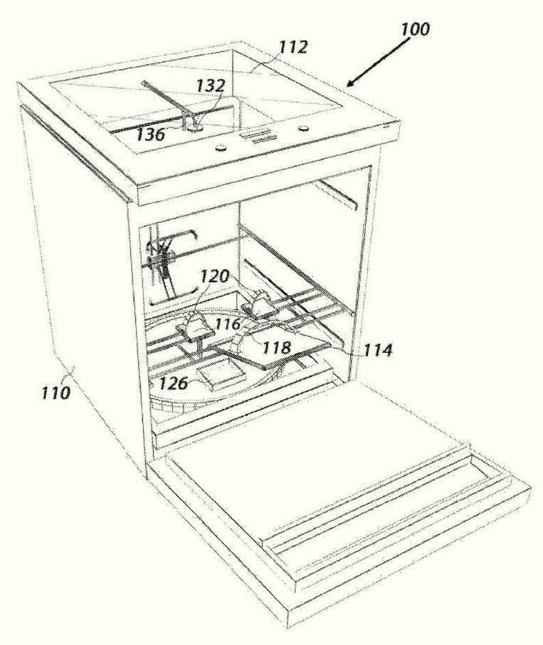 Een tekening uit het patent van de babyverschoner. Beeld Iman Farahbakhsh