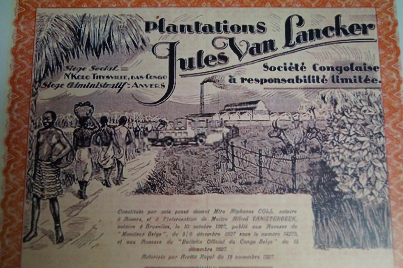 De tekening op het aandeel van de firma van Van Lancker spreekt boekdelen over de tijdsgeest van toen.