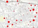 Verkeersongevallen die de politie registreerde op de cityring, van januari tot september 2017.
