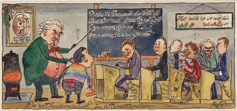 'De wethoudersschool in Amsterdam', spotprent uit 1928 over de wethoudersverkiezing: bovenmeester Wibaut leest de andere partijen de les  Beeld Stadsarchief