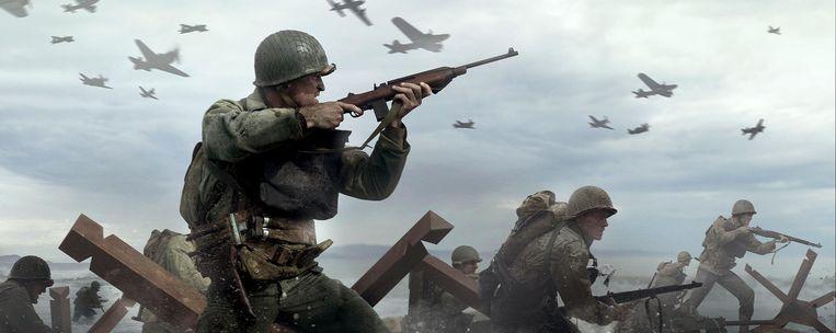 Beelden van explosies, rennende soldaten en een neerstortende bommenwerper vullen het tv-scherm bij de nieuwe 'Call of Duty'. Beeld