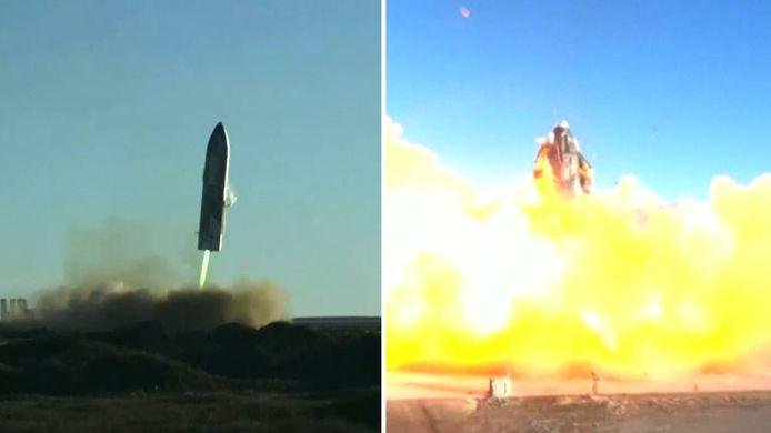 Het prototype van Starship SpaceX explodeert bij de landing na de test.