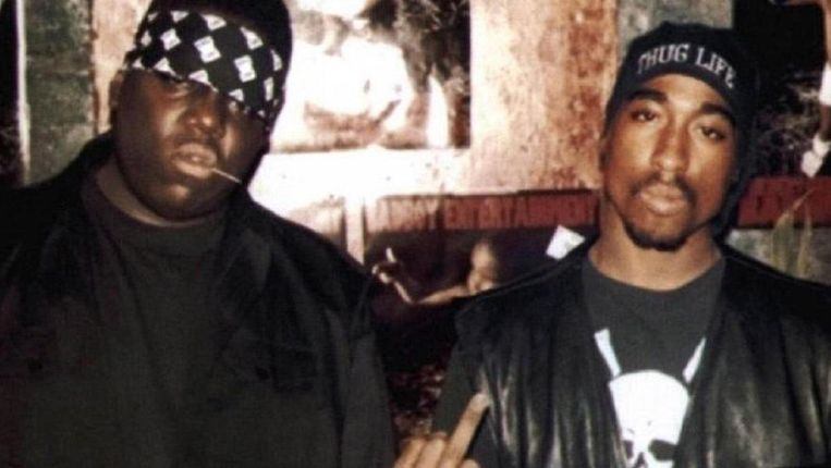 Rappers The Notorious B.I.G. en 2Pac. Beeld rv