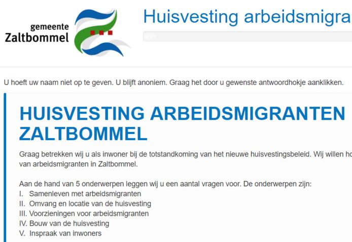 De startpagina van de enquête over de huisvesting van arbeidsmigranten in Zaltbommel.