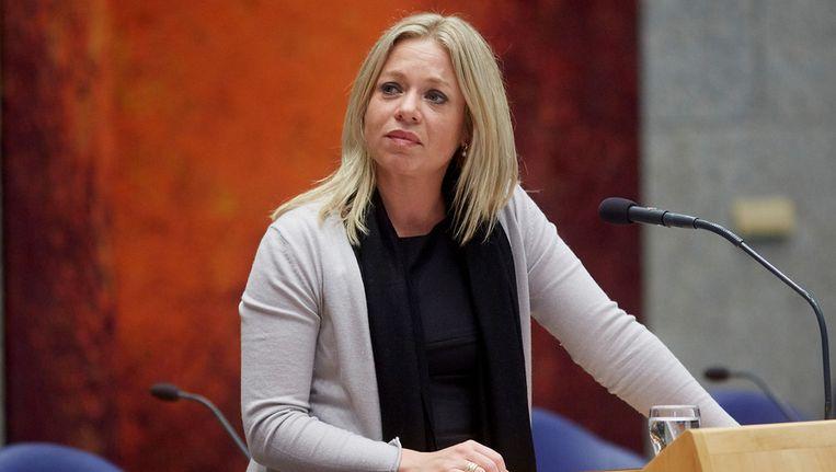 Minister Jeanine Hennis-Plasschaert van Defensie in de Tweede Kamer tijdens het vragenuurtje. Beeld anp