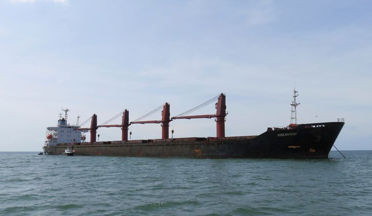 Het Amerikaanse ministerie van Justitie gaf deze foto van het Noord-Koreaanse schip Wise Honest vrij.  Beeld AP