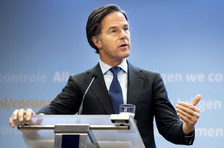 Premier Rutte tijdens de persconferentie.  Beeld ANP