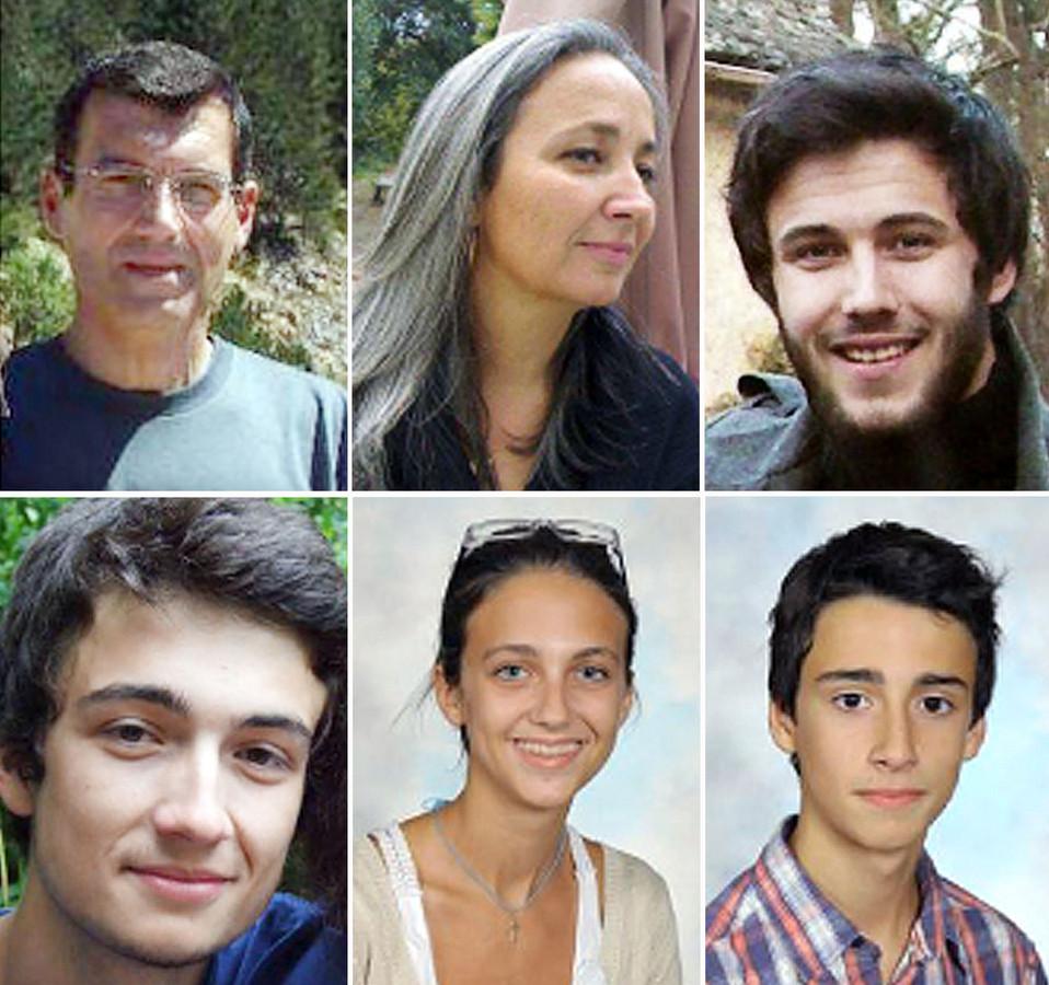 Montage photo réalisé le 21 avril 2011 de la famille Dupont de Ligonnès, disparue depuis début avril. De gauche à droite et de haut en bas, Xavier, Agnès, Arthur, Thomas, Anne et Benoît Dupont de Ligonnès.