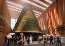 De torenhoge kegel of piramide, zoals die straks op de wereldtentoonstelling in Dubai te zien zal zijn als onderdeel van het kunstprogramma in het Nederlands paviljoen.