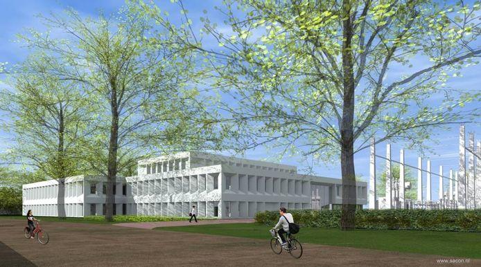 De nieuwe situatie van het Enexis-gebouw E aan de Marsweg in Zwolle, bekroond met de score 'excellent' bij de BREEAM-NL-beoordelingsmethode.