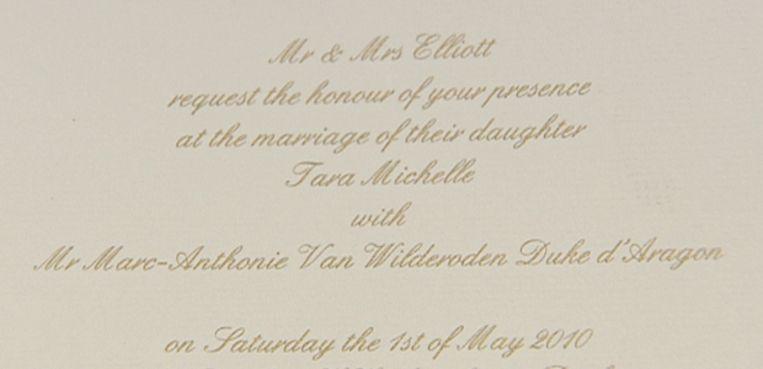 Uitnodiging voor de 'trouw' van 'Spaanse hertog' Marc-Anthonie Van Wilderoden d'Aragon. Beeld rv
