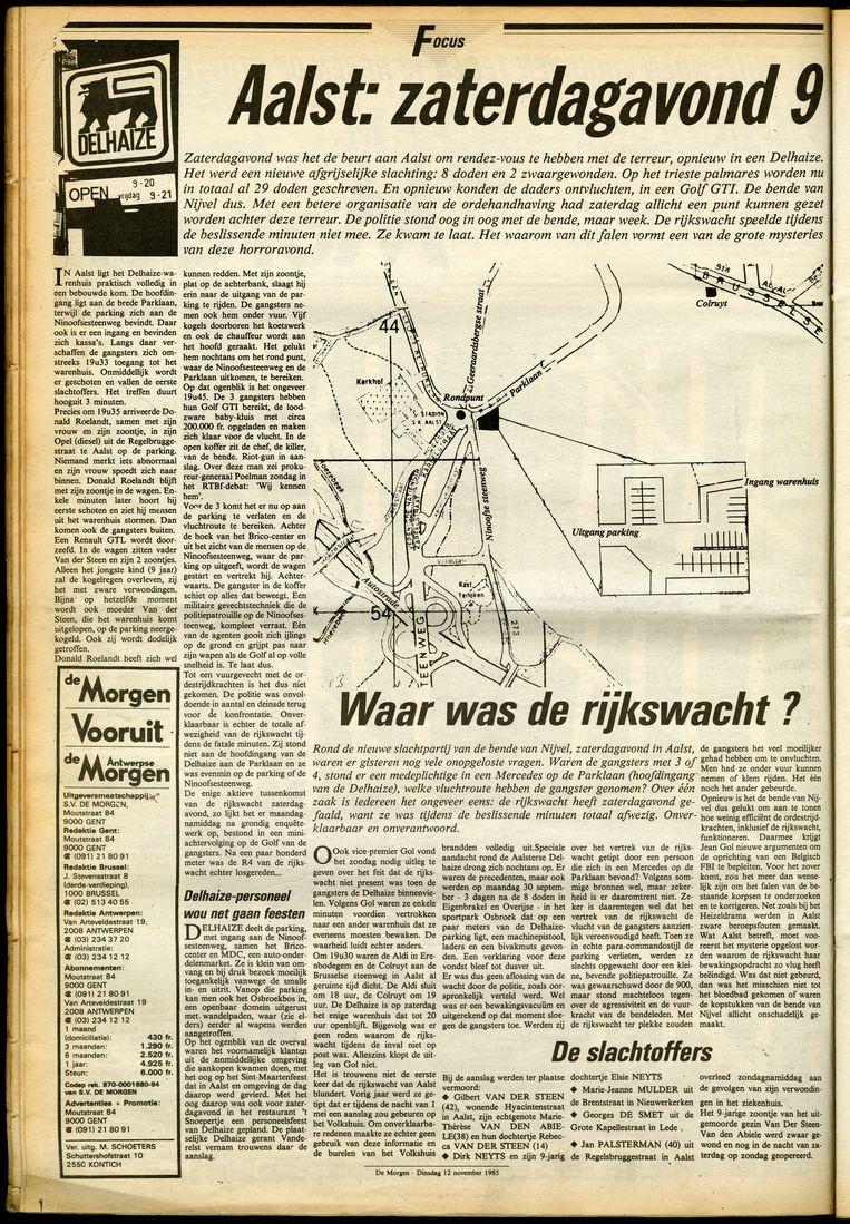 Artikelenreeks in De Morgen van 12 november 1985. Ook toen al luidde de vraag: waar was de rijkswacht?  Beeld rv