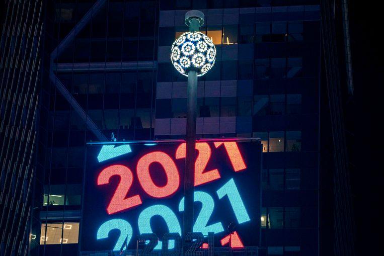 De ball drop op Times Square. Beeld AFP