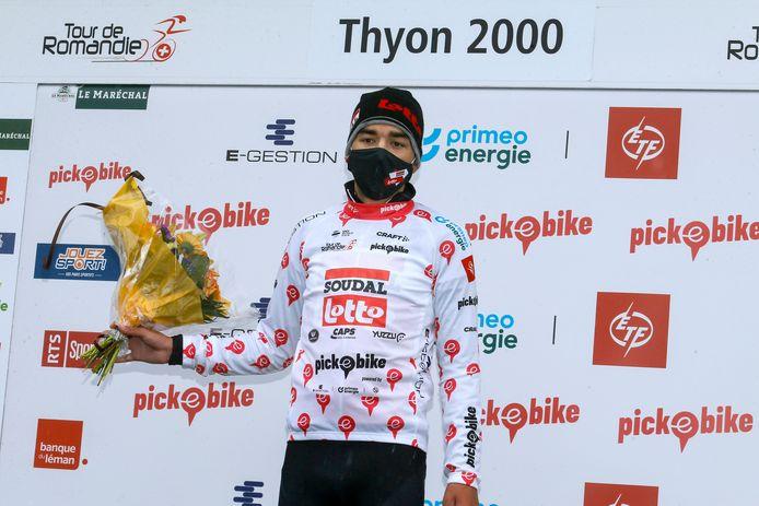 Kobe Goossens heeft de bergtrui in handen in de Ronde van Romandië.