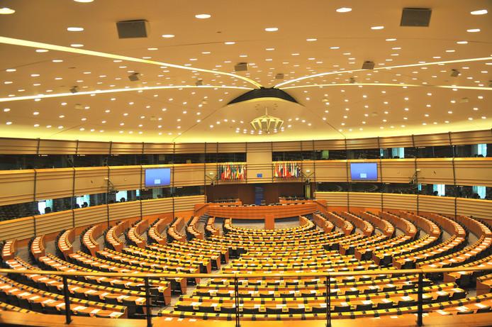 De grote vergaderzaal van het Europees Parlement in Brussel.