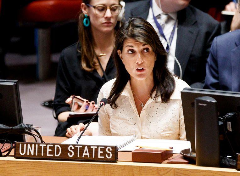 Nikki Haley, de vertegenwoordiger van de VS in de VN-Mensenrechtenraad, uit felle kritiek op die Raad. Beeld EPA