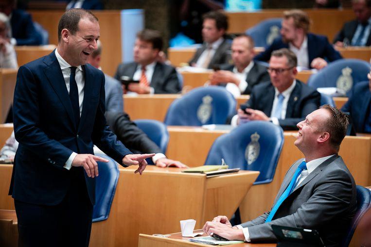 Lodewijk Asscher (PvdA) en Pieter Heerma (CDA) tijdens de algemene politieke beschouwingen in de Tweede Kamer.  Beeld Freek van den Bergh / de Volkskrant