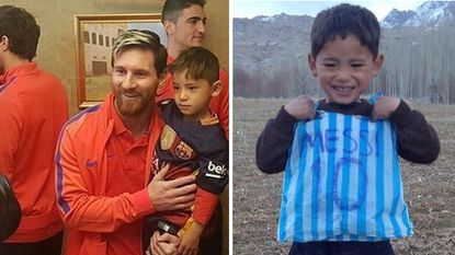 6-jarig Afghaans jongetje dat Messi-shirt maakte van plastic zak ontmoet eindelijk zijn idool